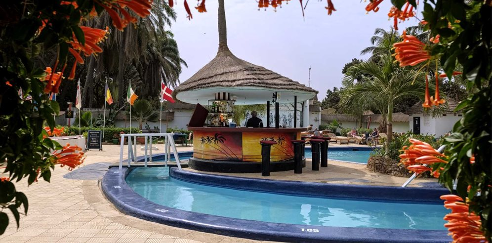 Pool bar at African Village, Bakau, The Gambia