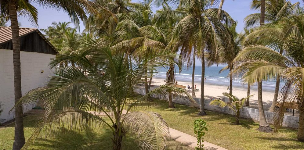 Sea view room's view at Bungalow Beach Aparthotel, Kotu, The Gambia