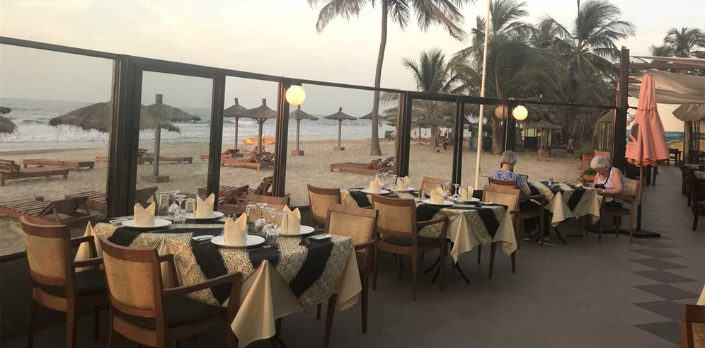 Beachside dining at Kombo Beach Hotel, Kotu, the Gambia