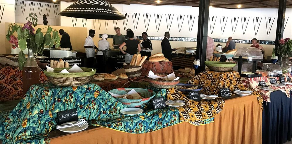 Breakfast buffet at Kombo Beach Hotel, Kotu, the Gambia