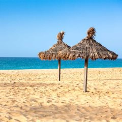 Parasols at Santa Maria beach in Sal Island - Cape Verde