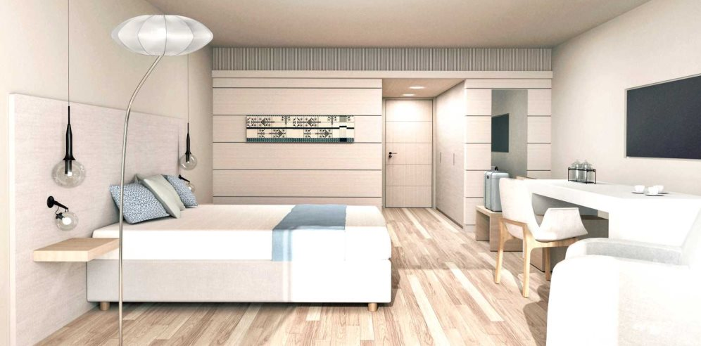 Artist impression of clean and modern Standard Room at Hotel Carlos V
