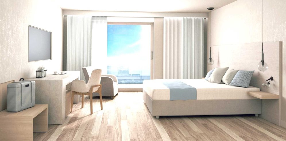 Artist impression of the bright and modern Standard Sea View Room at Hotel Carlos V