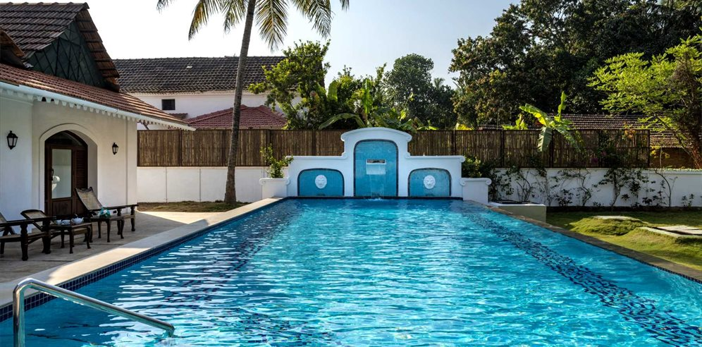 Swimming pool at The Postcard Cuelim, South Goa