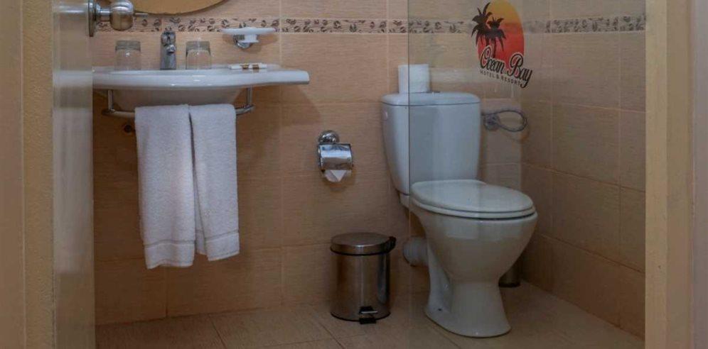 Deluxe bathroom at Ocean Bay Hotel, Cape Point, The Gambia