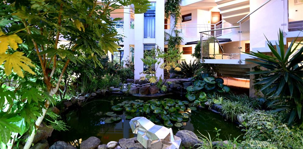 Gardens within the hotel leading to rooms - Hôtel La Roya - St Florent & NE