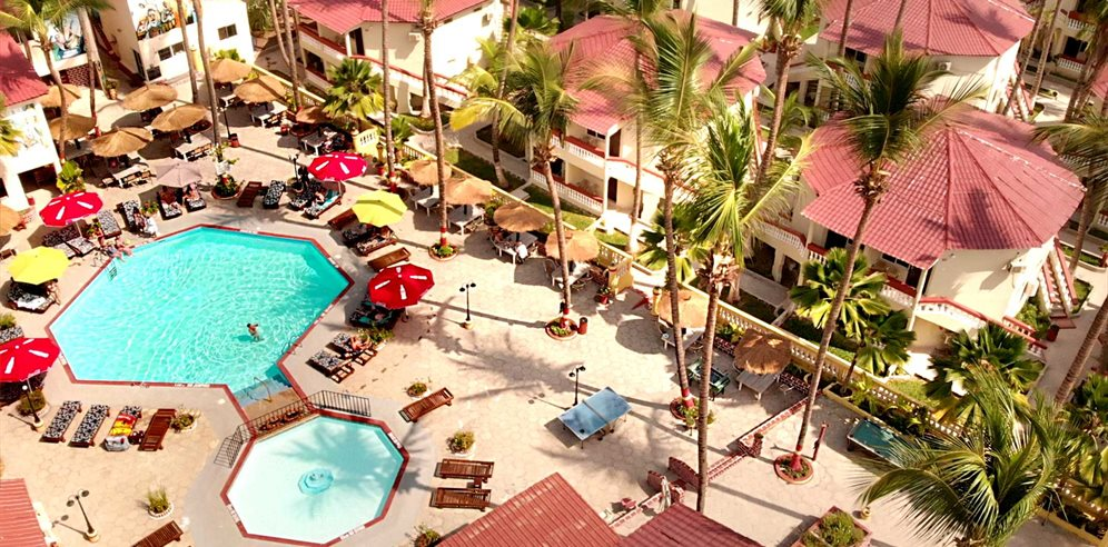 Arial view of Palm Beach Hotel, Kotu, The Gambia