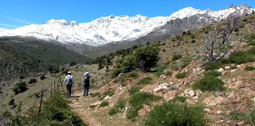 Walking in Corsica with the snow capped mountains