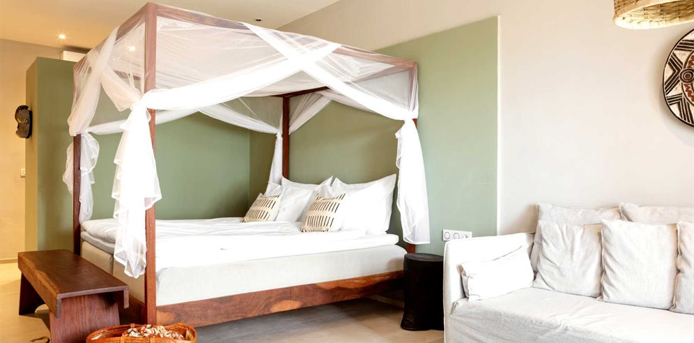 Four-poster bed at Tamala Beach Hotel, South Kotu - The Gambia